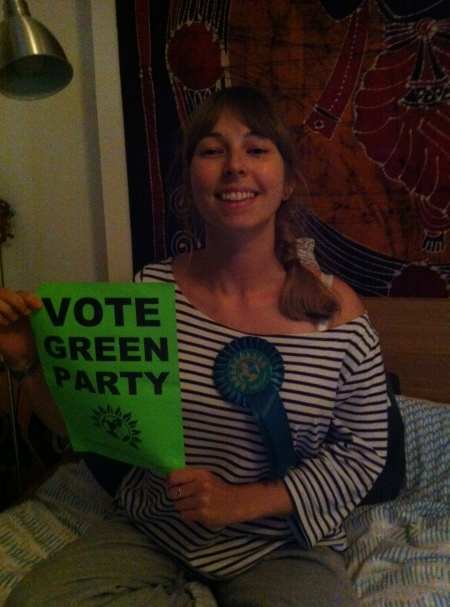 I'm even wearing a Green Party rosette.