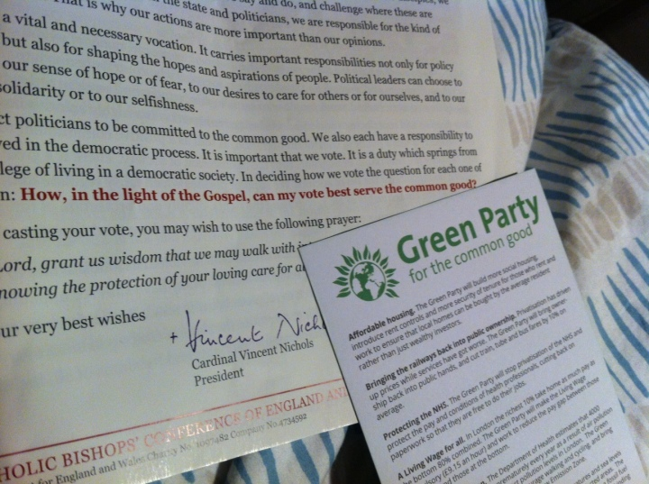 The Catholic church are covertly telling us to vote Green!