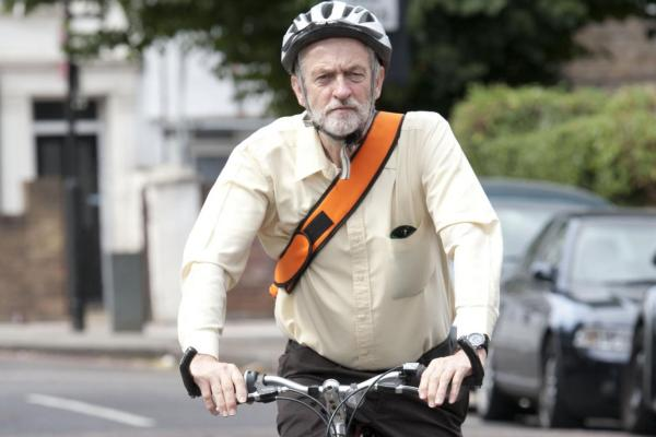 Jeremy Corbyn riding bike